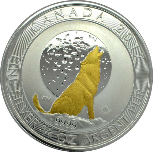 WOLF Moon 3/4 oz silver Gilded coin $2 2017 Canada