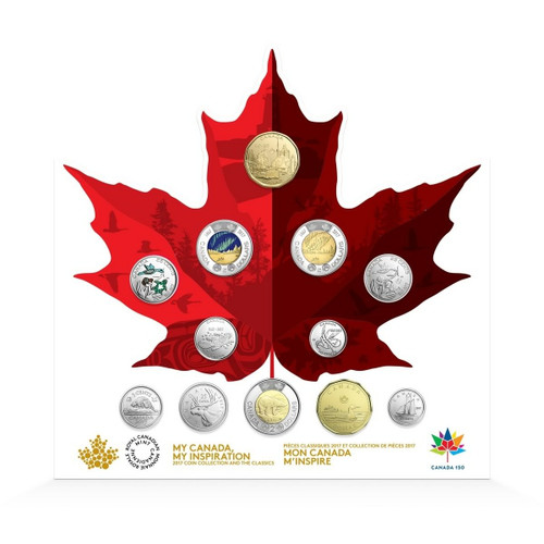 150th. Ann. CIRCULATION Coin Set with Glow in the Dark $2 2017 Canada