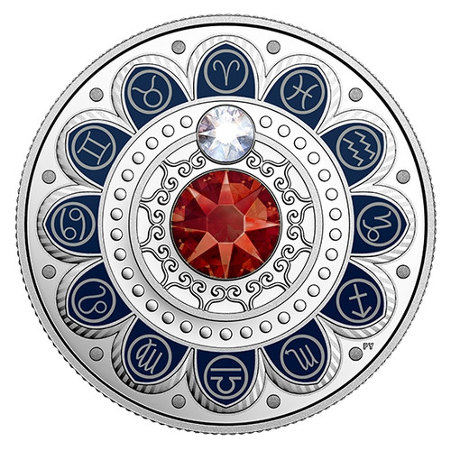 ARIES Zodiac $3 Silver Proof two Swarovski Crystals 2017 Canada