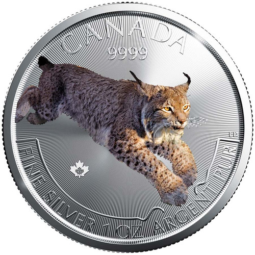 LYNX Predator Series 1 oz silver color coin $5 2017 Canada
