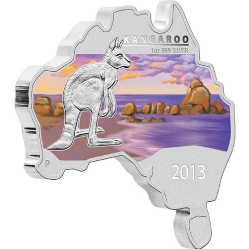 2013 Australian Map Shaped Kangaroo 1 oz silver