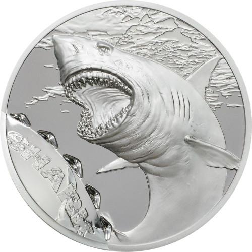 SHARK Bitemarks High relief 1 Oz Silver Coin 5$ Palau 2017