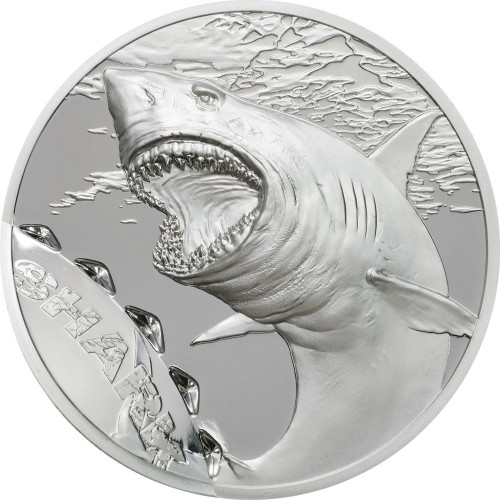 SHARK Bitemarks High relief 1 Oz Silver Coin 5$ Palau 2017