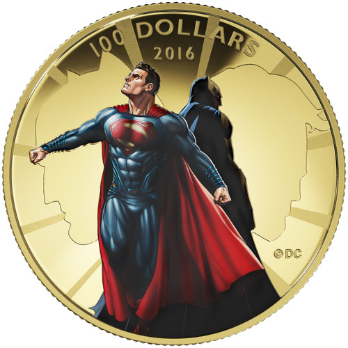 Batman vs. Superman Dawn of Justice $100 14 K Gold Coin 2016 (201763)