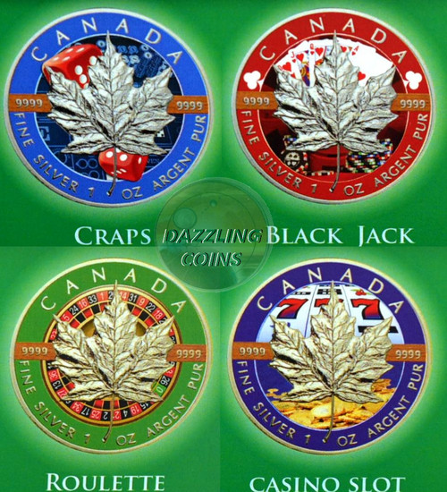 MAPLE LEAF - Casino Edition $5 Pure Silver Coin set Canada 2017