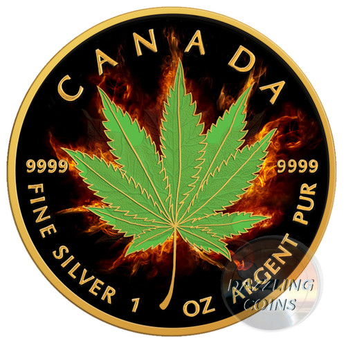 BURNING MARIJUANA - INDICA Maple Leaf 1 oz Silver Coin 2017