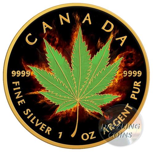 BURNING MARIJUANA - INDICA Maple Leaf 1 oz Silver Coin 2017