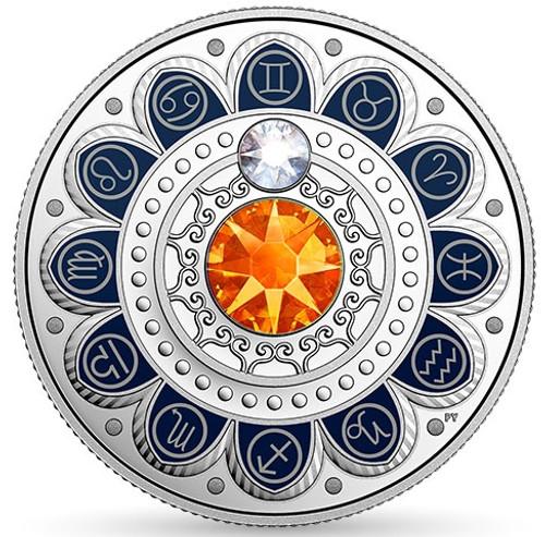GEMINI Zodiac $3 Silver Proof two Swarovski Crystals 2017 Canada