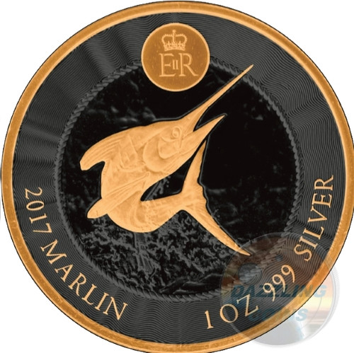 BLUE MARLIN 1 oz Gold Black Empire Silver Coin Cayman Islands 2017