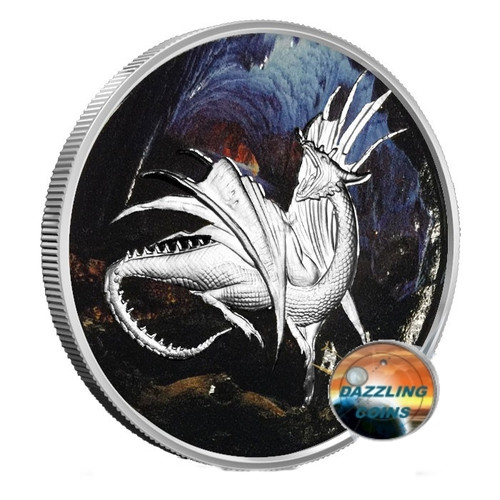 NIDHOGGR Colorized Nordic Creatures 1 oz Silver Round