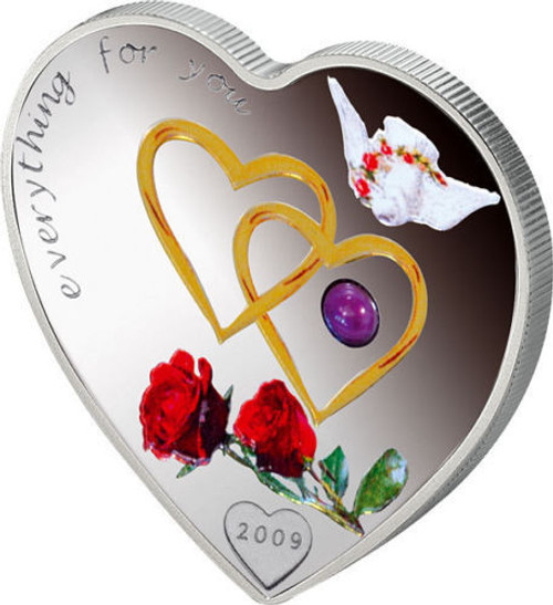 EVERYTHING FOR YOU Heart-Shaped with Red Pearl Silver Coin Palau 2009