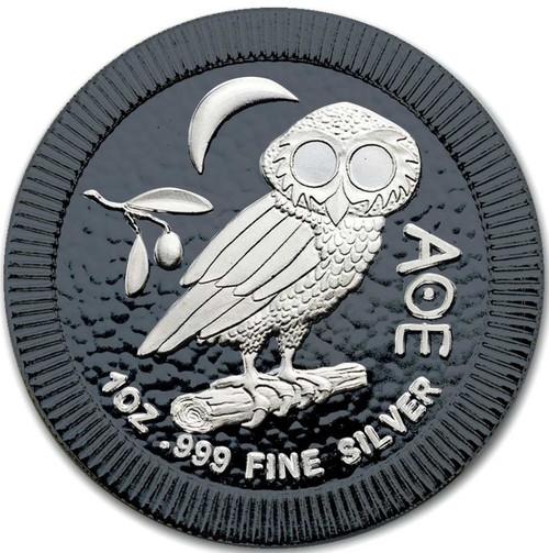 OWL of ATHENS Black Ruthenium Silver coin 1 OZ Niue 2017
