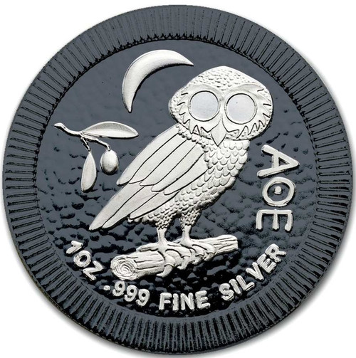 OWL of ATHENS Black Ruthenium Silver coin 1 OZ Niue 2017