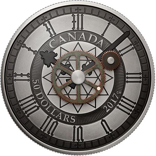 5 oz PEACE TOWER CLOCK 90th Anniversary $50 Pure Silver Coin Canada 2017