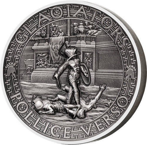 POLLICE VERSO Gladiators 2 Oz High Relief Silver Coin 5$ Solomon Islands 2017