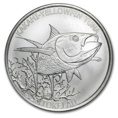 KAKAHI-YELLOWFIN TUNA  1 oz Silver Satin Finish Coin 2014 $5 Tokelau