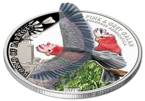 PINK AND GREY GALAH 3D World Of Parrots Silver Coin 5$ Cook Islands 2017