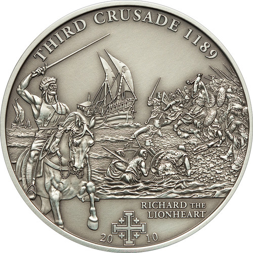 3rd.Crusade: Richard the Lionheart Silver Coin 5$ Cook Islands 2010