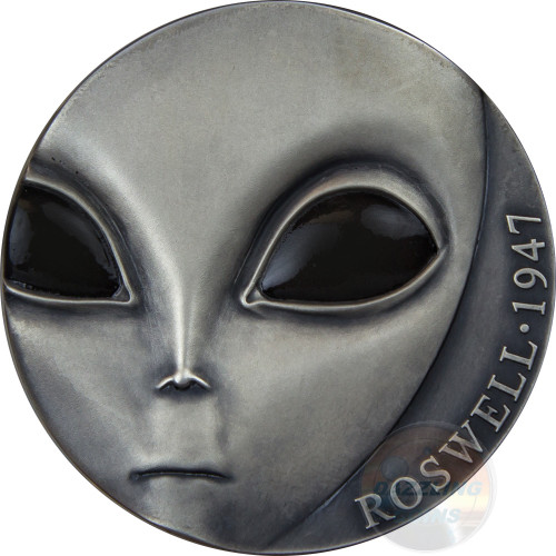 ROSWELL INCIDENT 70th Anniversary UFO 3 Oz Silver Coin 3000 Francs Cameroon 2017