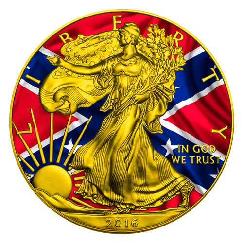 CONFEDERATE FLAG - US SILVER EAGLE - 2016 1 oz Silver Coin - Color & 24K Gilding