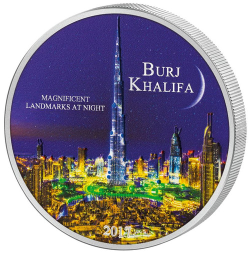 BURJ KHALIFA Magnificent Landmarks at Night - 2000 CFA 2oz Silver Coin - Cameroon 2017