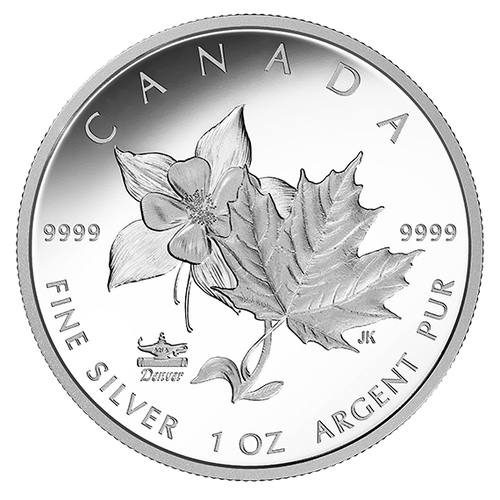 ANA WORLD'S FAIR - DENVER STATE FLOWER - THE COLUMBINE - 2017 $5 1 oz Silver Maple Leaf Coin