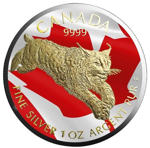 LYNX Predator Series 1 oz silver Gilded  flag coin $5 2017 Canada