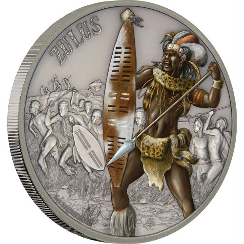 ZULUS - WARRIORS OF HISTORY - 2017 1 oz Fine Silver Coin - Niue