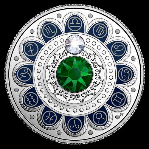 LIBRA Zodiac $3 Silver Proof two Swarovski Crystals 2017 Canada