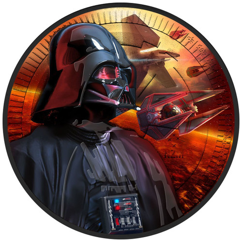 DARTH VADER - TIE FIGHTER - STARWARS - 2017 1 oz Silver Coin - Color & Ruthenium