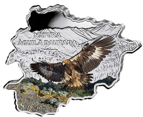 10 D Golden Eagle Map Shaped 1 oz Silver Coin Andorra 2013