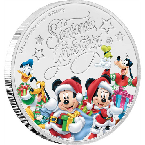 CHRISTMAS GREETINGS Mickey Mouse Seasons Disney 1/2 oz Silver Coin Niue 2017