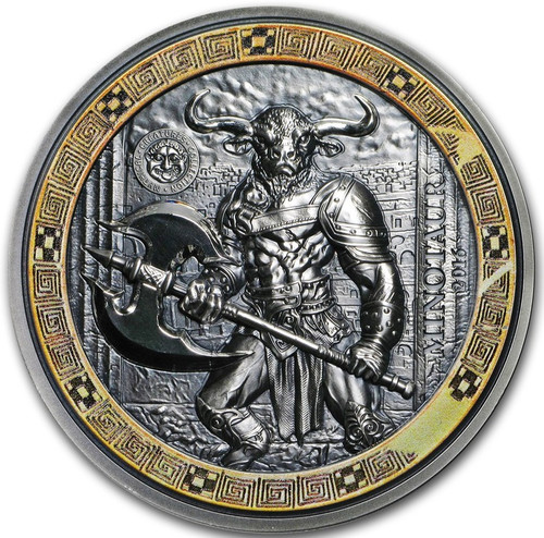 MINOTAUR Mythical Creatures Ultra High Relief 2 Oz Silver Coin 10$ Palau 2016