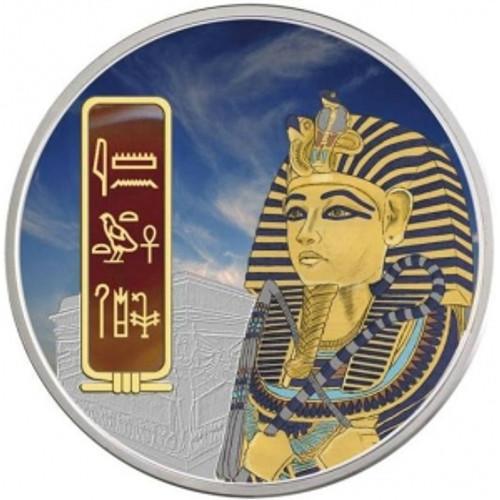 Fiji 2012 $50 Tutankhamun 2oz Silver Palladium  Gemstone