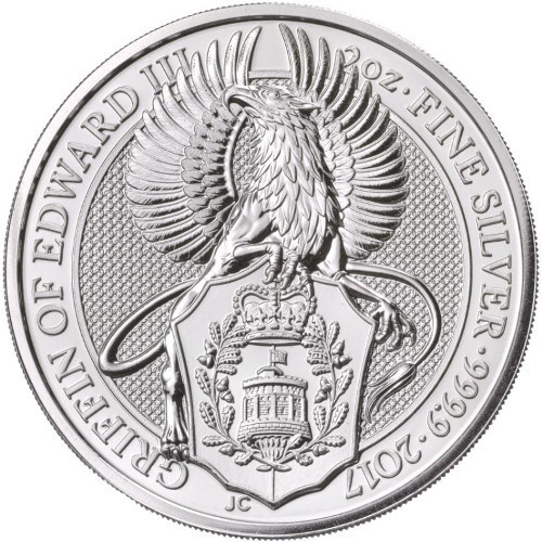 THE GRIFFIN OF EDWARD II - THE QUEEN'S BEASTS 2 oz Silver Coin 2017 UK