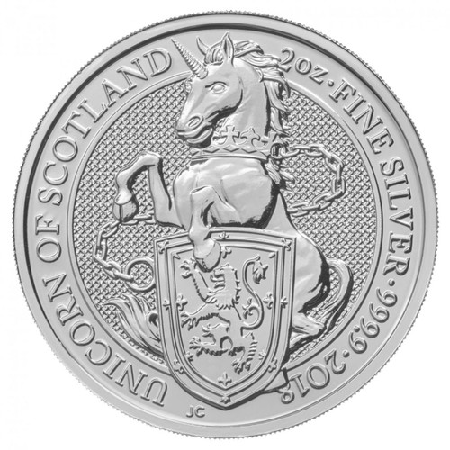 UNICORN OF SCOTLAND - THE QUEEN'S BEASTS 2 oz Silver Coin 2018 UK