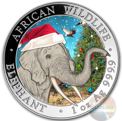 2018 ELEPHANT - Christmas Coin in Snow Globe 1 oz .9999 Silver Coin Somalia