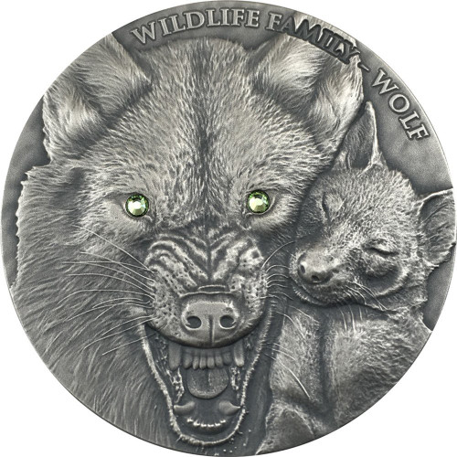 WOLF - WILDLIFE FAMILY - 1 oz Ultra High Relief Silver Coin w/ Swarovski Niue 2017