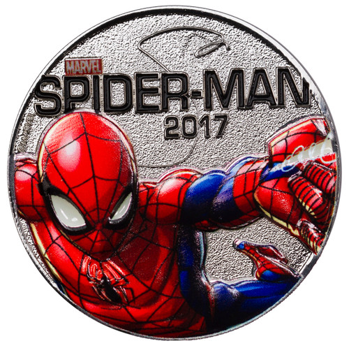 SPIDER-MAN - MARVEL LIGHT-UPS - ILLUMINATING COIN SERIES - 2017 Silver Plated $0.50 Coin - Fiji
