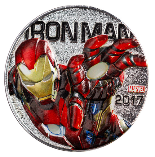 IRONMAN - MARVEL LIGHT-UPS - ILLUMINATING COIN SERIES - 2017 Silver Plated $0.50 Coin - Fiji