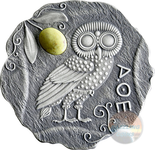 OWL OF ATHENA with Jasper stone Silver Coin 500 Francs Cameroon 2017