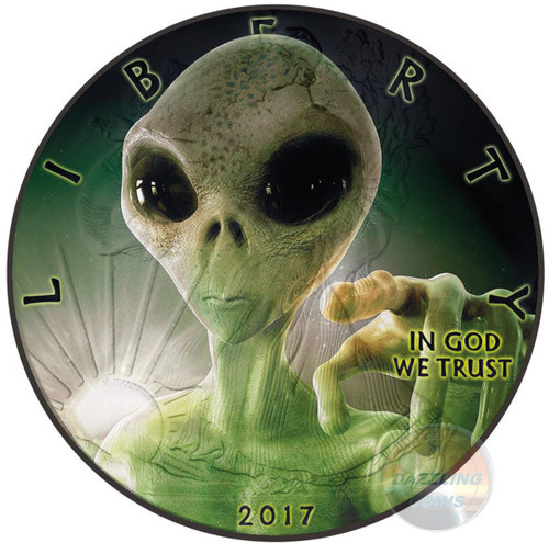 ALIEN - Glow In the dark - 1 Oz Silver coin Liberty USA 2017 1$