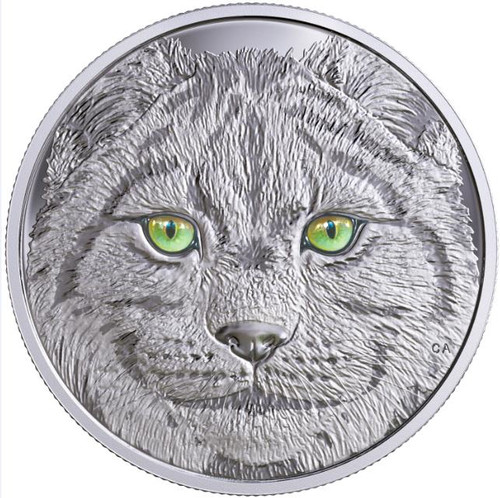 LYNX Glow-In-The-Dark Eyes $15 Silver Coin 2017 Canada