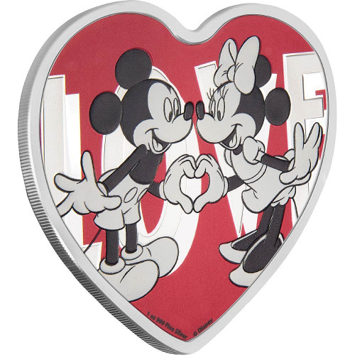 WITH LOVE - MICKEY & MINNIE - DISNEY - 2018 1 oz Silver Heart Shaped Coin