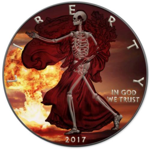 SKELETAL EAGLE Armageddon Nuke - 1 Oz Silver coin Liberty USA 2017