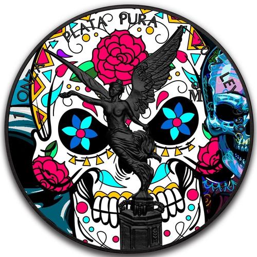 DIA DE LOS MUERTOS Day of the Dead Libertad 1 Oz Silver Coin Mexico 2017