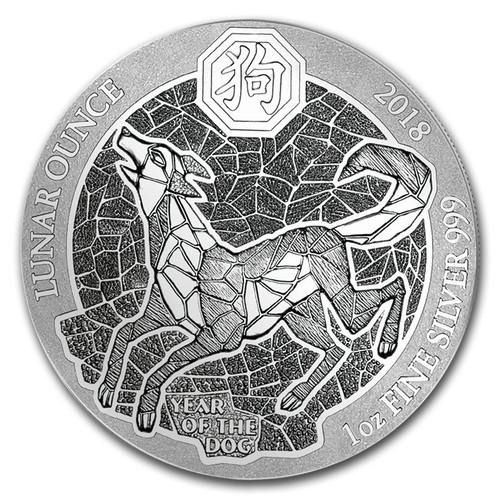 YEAR OF THE DOG- RWANDA LUNAR OUNCE - 2018 1 oz Silver Coin