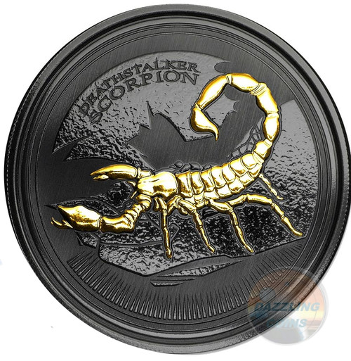 Deathstalker SCORPION 1 oz Silver Gold Black Empire Coin Republic of Chad 2017