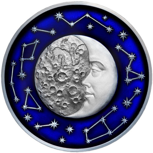 THE MOON Celestial Bodies 2 Oz Silver Coin 5$ Niue 2017