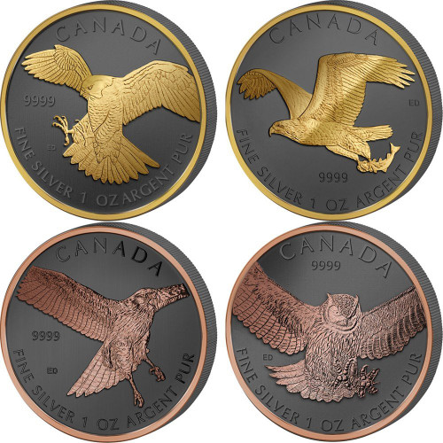 BIRDS OF PREY Set Golden Enigma 4x1 Oz Silver Coins 5$ Canada
